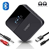 Wsky Bluetooth 5.0 Receiver Transmitter, 2-in-1 3.5mm Aux, Wireless HD Low Latency Audio Music Adapter for Car/Home/Headphones/TV/PC/USB/AV Stereo, 2 Devices at Once