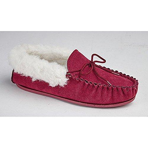 Mokkers - Zapatillas de estar por casa estilo Moccasin modelo Emily para mujer Crimson