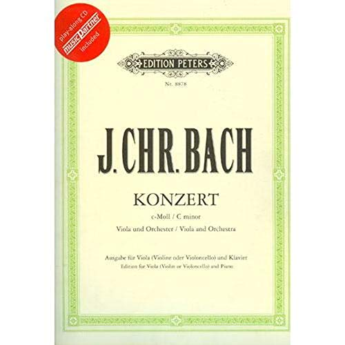 Bach Johann Christian Concerto in c minor Viola and Piano Book/CD set - by Henri Casadesus Peters