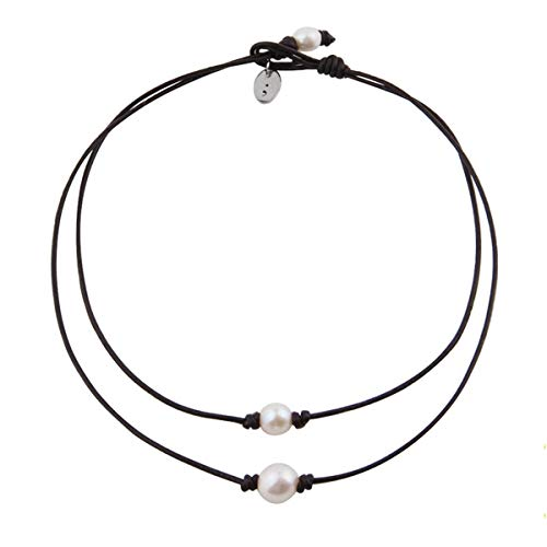 Yihoo Freshwater Cultured Pearl Choker Clavicle Leather Jewelry Necklace