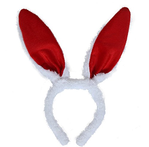 Party Decoration Easter Halloween Masquerade Plush Rabbit Bunny Ears Hairbands (30CM, Red) -