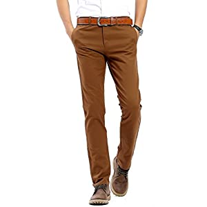 Men's Stretchy Slim Fit Casual Pants ,100% Cotton Flat Front Trousers Dress Pants for Men