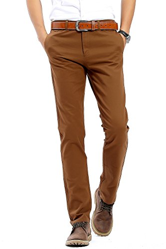 INFLATION Men's Stretchy Slim Fit Casual Pants,100% Cotton Flat Front Trousers Dress Pants for Men - stylishcombatboots.com