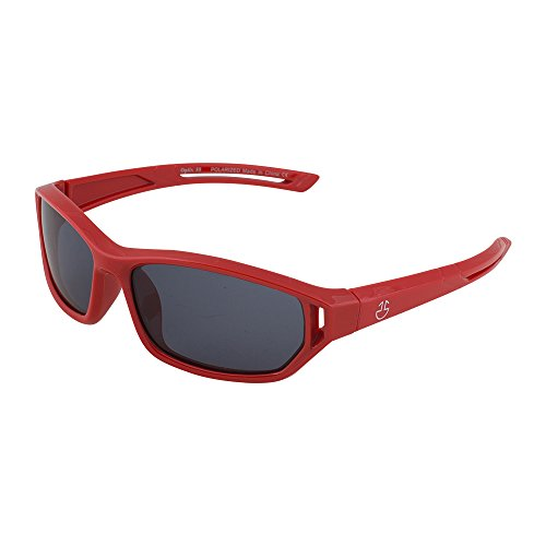 Kids Flexible Rubber Sunglasses for Boys and Girls - Red Sporty Goggle Shield Style Bendable and Unbreakable Frame - 100% UV Protection and Polarized Lenses - By Optix - Sunglasses Red Cheap