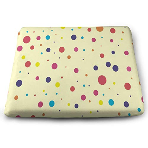 Seat Cushion Cute & Colorful Dots Pattern Chair Cushion Custom Personalized Offices Butt Chair Pads for Wheelchairs