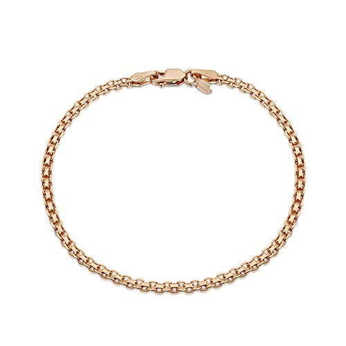Bismark Necklace Designer - Amberta 14K Rose Gold Plated on 925 Sterling Silver 2.2 mm Bismark Chain Bracelet Length 7