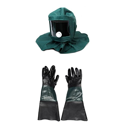 Flameer Sand Proof Heat Protection Hood Face Mask and 7'' x 24'' Durable Sandblasting Sandblaster Sand Blast Blaster Blasting Gloves Anti-dust Equipment