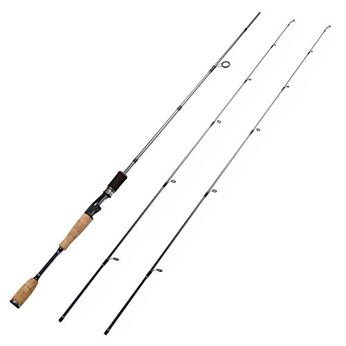 Entsport New Desgin 2-Piece Spinning Rod Graphite Portable Spinning Fishing Rod with two different top pieces Inshore Spinning Pole Freshwater Spin Rod (Spinning Rod with 2 Top Pieces, 7-Feet)