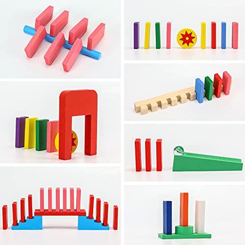 MCPINKY Super Domino Blocks, 720PCS+ Domino Starter Kit Bulk Dominoes Wooden Domino Blocks Colored Dominoes Building Block Tile Game Racing Educational Toy