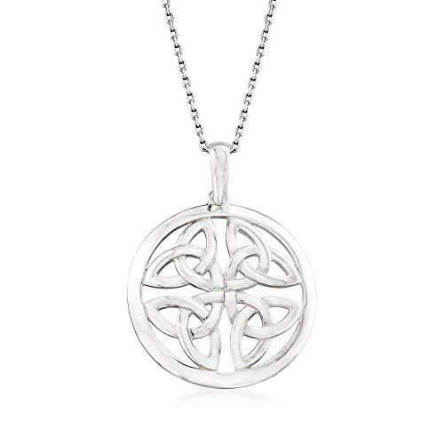 Ross-Simons Sterling Silver Celtic Trinity Knot Pendant Necklace ()