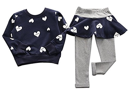 BomDeals Adorable Cute Toddler Baby Girls Clothes Set,Long Sleeve T-Shirt +Pants Outfit (Age(2T), Navy)