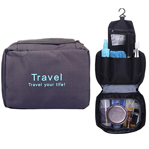 Travel Toiletry Bag Hanging Cosmetic Bag Makeup Organizer Personal Care Compact Bathroom Storage for Women Girls Men Waterproof Oxford Cloth Black