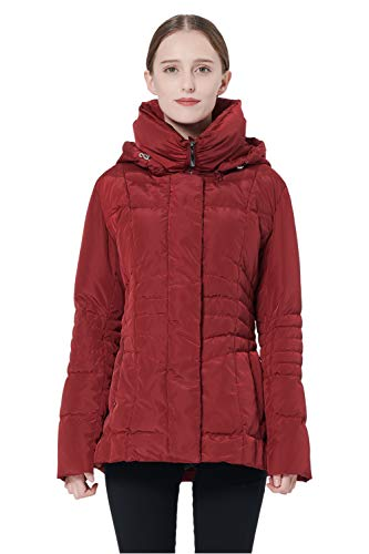 Orolay Women's Short Down Coat Winter Jacket with Removable Hood Red XL