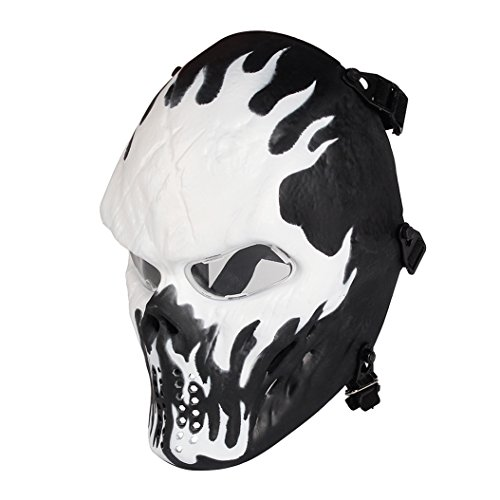 Skull Skeleton Full Face Airsoft Mask with Clear Lens Army Fans Supplies M06 Tactical Mask for Halloween BB Paintball Gun CS Game Cosplay and Masquerade Party Wildfire