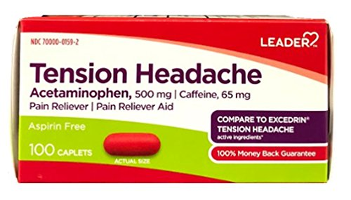 Leader Tension Headache Pain Reliever, 100 Caplets (Pack of 4)