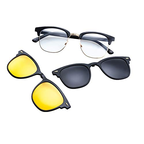 Yellow Grey Lenses Frame - Polarized Clip On Clubmaster Sunglasses with Clear Lens Blue Light Blocking Glasses (C8 Black Frame/Grey Lens Yellow Lens)