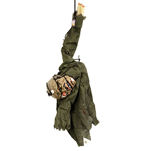 Halloween Haunters Animated Hanging Scary Mangled Barbwire Reaper Zombie Torso Prop Decoration - Moving Arms, Screams, LED Eyes - Battery Operated