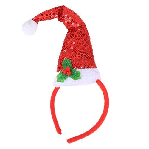 Reindeer Hat Craft - Haayward - 1 PcsChristmas Big Santa Claus Hat Hair Hoop,Glitter Sequins Leaves Headband , Kid Adult Xmas Decoration Gift
