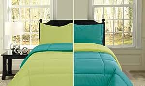 U.S. Polo Assn. 3-Piece Reversible Microfiber Comforter Set, Twin, Turquoise/Lime