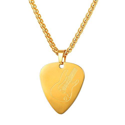 U7 Guiter Pick Necklace with Adjustable Chain 18K Gold Plated Music Jewelry Men Personalized Pendant Gift - Gold Plated Music Fashion Jewelry