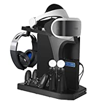 All-in-One PS VR Stand – Younik PlayStation VR Vertical Stand Cooling Fan with Controller Charging Station, PSVR Glasses & Headset Bracket For PS4 / PS4 Pro / PS4 Slim