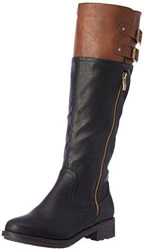 DREAM PAIRS Women's Bradenn Knee High Boot Black Camel Regular Calf