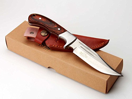 Elkridge 9.5'' Knife With Wood Handle And Grooves On Blade ER052 3 Percenter 13 Stars Circle