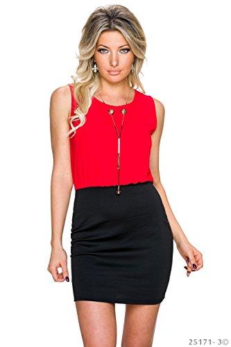 Unbekannt - Vestido - Camisa - para mujer rojo y negro