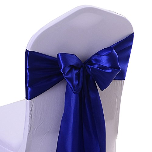 iEventStar Satin Sash Chair Bow Cover Wedding Banquet Party Decoration (10, Royal Blue)