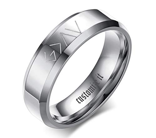 (Custom Personalized Band Ring for Men God is Greater Than The Highs and Lows Christian Symbol Promise Ring Black)