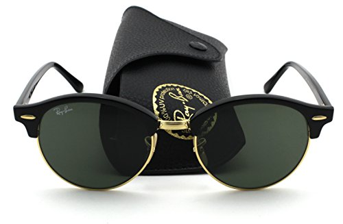 Ray-Ban RB4246 Clubround Unisex Sunglasses (Black Frame/Green Lens 901, - Clubround Ban Sunglasses Ray