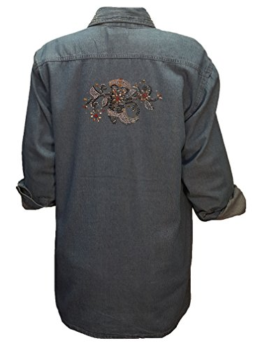 Denim Shirt Womens with Cowboy Boot in Swirl Rhinestone Bling (Lg) Bllue