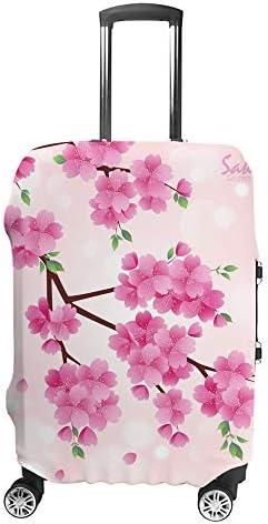 スーツケースカバー トラベルケース 荷物カバー 弾性素材 傷を防ぐ ほこりや汚れを防ぐ 個性 出張 男性と女性ロマンチックなピンクの桜の花