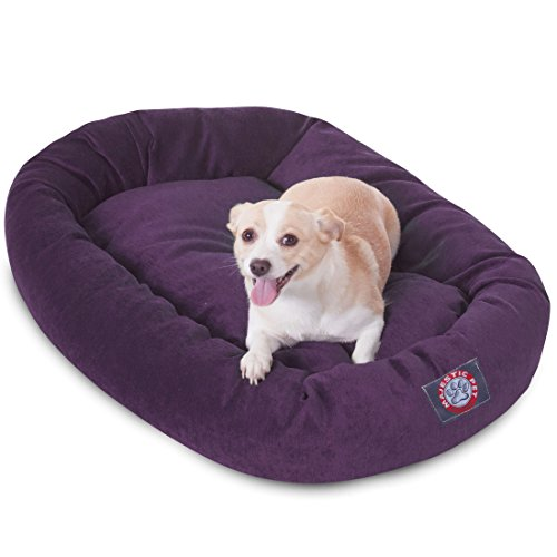 32 inch Aubergine Villa Collection Micro Velvet Bagel Dog Bed By Majestic Pet Products (Velvet Bed Pet)
