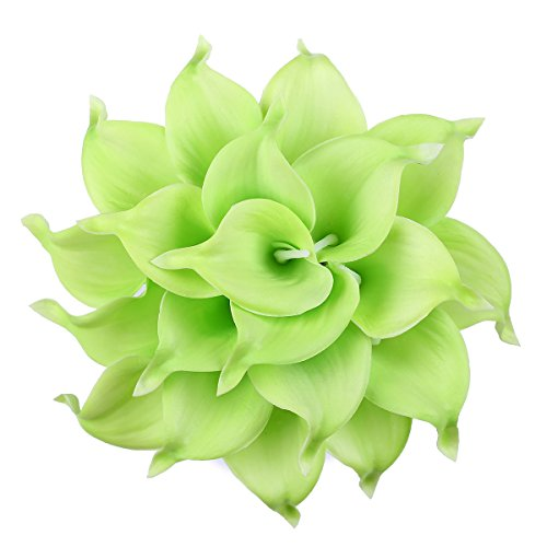 Leagel Calla Lily Bridal Wedding Bouquet Head Lataex Real Touch Flower Bouquets (20, Green)