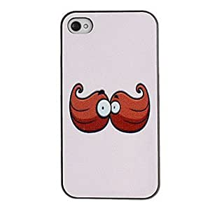 Funny Eyes on the Mustache Pattern PC Hard Case with Black Frame for iPhone 4/4S