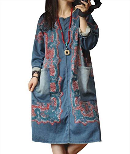 - YESNO YK8 Women Casual Loose Denim T-Shirt Dress Sweatshirt Plus Size Floral Printed Fringed Cuff Long Raglan Sleeve