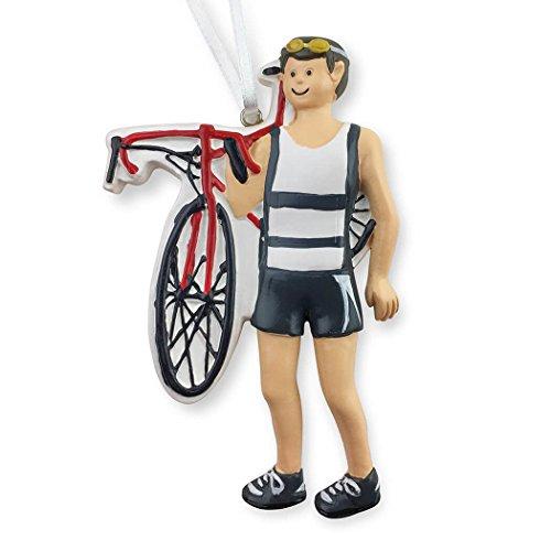 Gone For a Run Triathlete Christmas Ornament | Triathlon Ornaments Guy | Brunette]()
