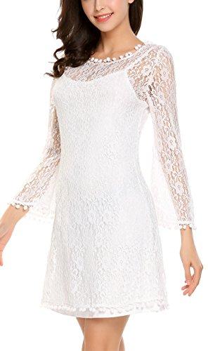 blanco Manga Vestido sin Corto Encaje Casual Mini Vestido Fiesta Mujeres Manga Soteer de Larga 8pwqOgq