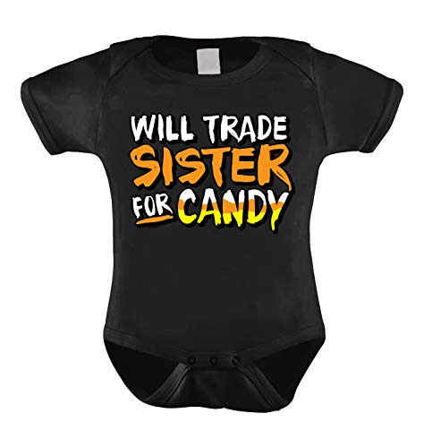 HAASE UNLIMITED Will Trade Sister for Candy - Halloween Infant Bodysuit (Black, 12 Months)