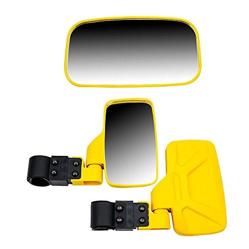 8TEN Yellow Breakaway Offroad Rear & Side View Mirrors Combo Side x Side UTV Utility Vehicle w/ 1.75' Roll Cage Bar