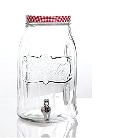 Coca-Cola Country Classic Glass Beverage Dispenser with Lid, 2 gallon, Clear