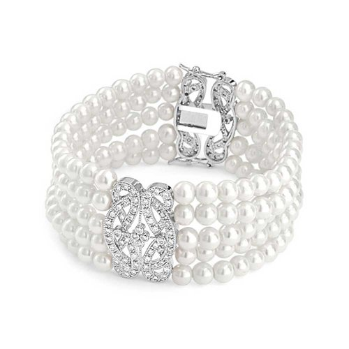Bling Jewelry CZ Multi Strand Simulated Pearl Bridal Wedding Bracelet 7in Rhodium Plated