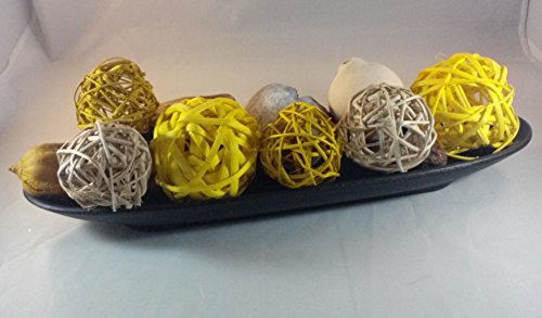 Jodhpuri Inc. Decorative Spheres (Yellow) Rattan Vase Filler