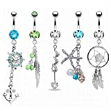 Labu Store 5 Pcs/Set Women Belly Button Rings Surgical Steel Crystal Navel Ring Body Piercing Jewelry
