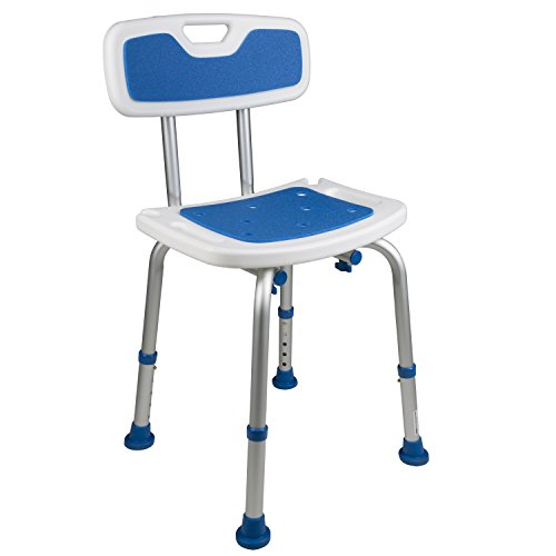 PCP Padded Bath Safety Seat with Backrest, White/Blue