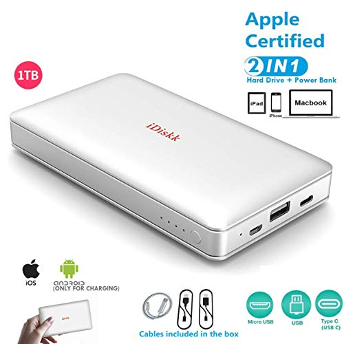 1000GB (1TB) Hard Drive External Storage for iPhone 5/6/7/8,X,XR,XS MAX,new iPad Pro and MacBook and PC,USB+USB C Data Photos Backup Flash Drive (APP management for iOs 7/8/11/12),iDiskk MFi Certified (Best External Storage For Iphone)