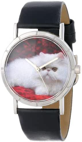 Whimsical Watches Kids' R0120025 Classic Persian Cat Black Leather And Silvertone Photo Watch