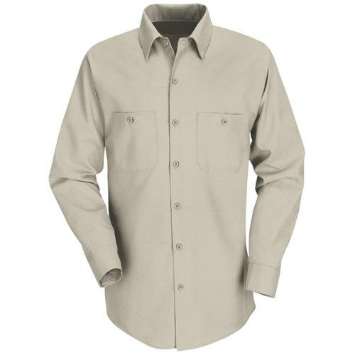 Red Kap Men's Industrial Work Shirt, Light Tan, 5X-Large (Work Cotton Shirts)