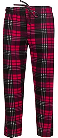 Premium Lounge Pants for Men - Luxurious Coral Fleece - Adjustable Size - L Red & Black Plaid - Flannel Pajama Pants Sleepwear